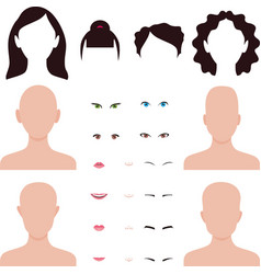 woman face parts lips eyes and hair vector image vector image