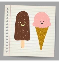 Ice cream doodle vector image