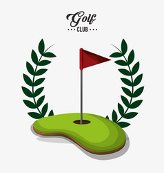 Golf club red flag field label vector