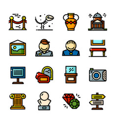 Thin line museum icons set vector