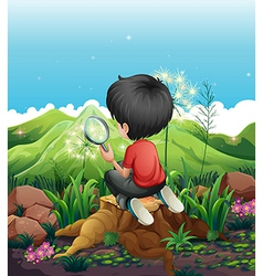 A boy above a stump with a magnifying glass vector