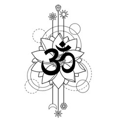 Om and lotus tattoo vector