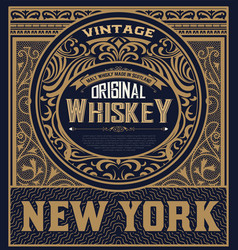 Whiskey label with baroque ornaments vector