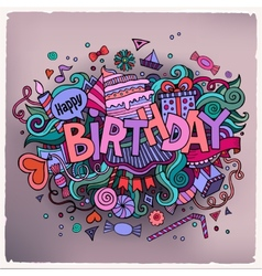 Birthday hand lettering and doodles elements vector