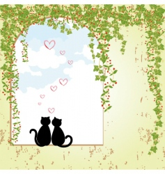 Springtime cat dating vector