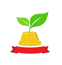 Growing investment coin money and green leaf with vector