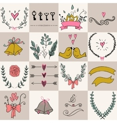 Set of icons for valentines day mothers day vector
