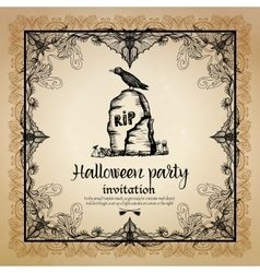Halloween vintage invitation with frame vector