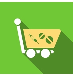 Medication shopping cart flat long shadow square vector
