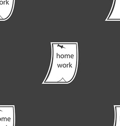 Homework icon sign seamless pattern on a gray vector