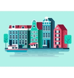 Amsterdam city design flat vector