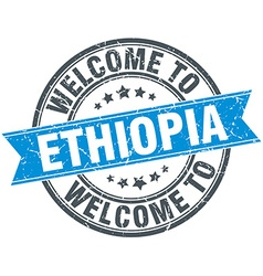 Welcome to ethiopia blue round vintage stamp vector