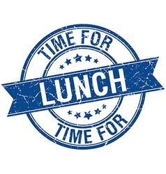Time for lunch grunge retro blue isolated ribbon vector