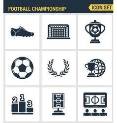 Icons set premium quality of football championship vector