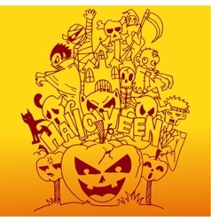 Halloween doodle art with orange backgrounds vector
