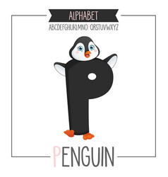 alphabet letter p and penguin vector image vector image