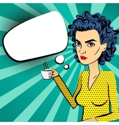 Angry woman blue hair pop art drinking coffee vector