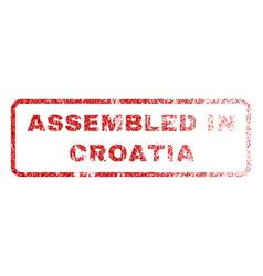 Assembled in croatia rubber stamp vector