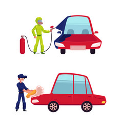 Auto mechanic painting and washing a car vector