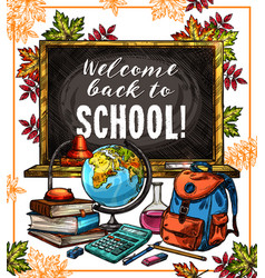 Back to school poster with education supplies vector