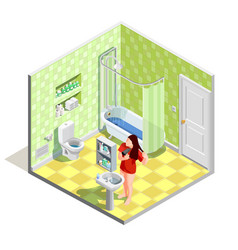 Bathroom tinker isometric composition vector