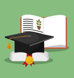 biology book certificate graduation hat vector image vector image