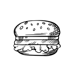 Black and white sketch of a hamburger vector