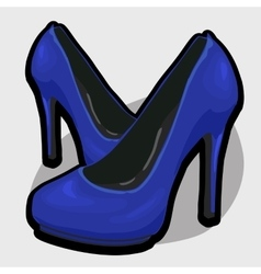 Blue evening shoes with high heel vector
