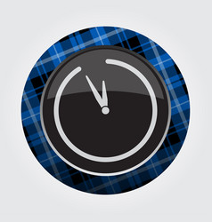 Button blue black tartan - last minute clock vector