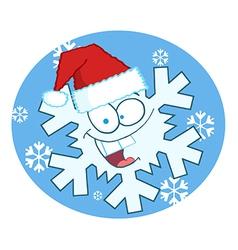 Cartoon Snowflake Character With Santa Hat vector image vector image