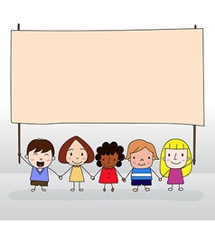 Children holding board vector