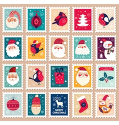 Christmas set of post stamps vector