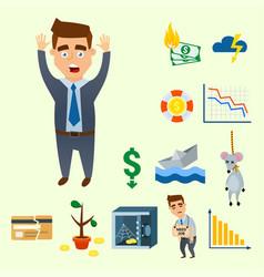 Crisis symbols concept problem economy banking vector