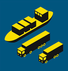Dry cargo and trucks vector