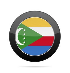 Flag of comoros shiny black round button vector