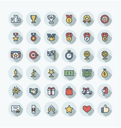 Flat color thin line icons set with award vector
