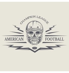 Football with a skull wearing a helmet vector image vector image