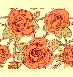 freehand drawing roses vector image vector image
