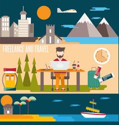 Freelance and travel horizontal flat design vector