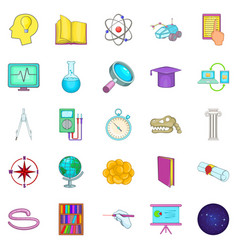 Getting knowledge icons set cartoon style vector