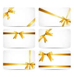 Gift Card with Gold Ribbon and Bow vector image vector image
