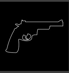 Gun revolver white color path icon vector