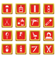 Hairdressing icons set red vector