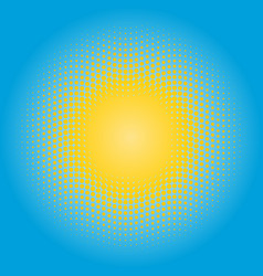 Halftone sun design element circle of yellow dots vector