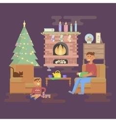 House christmas room vector