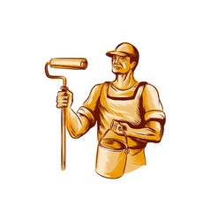 House Painter Holding Paint Roller Etching vector image vector image