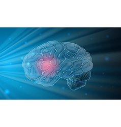 Human brain with blue background vector