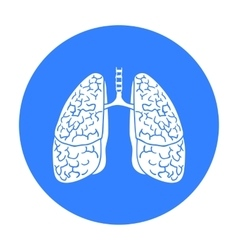 Human lungs icon in black style isolated on white vector image vector image