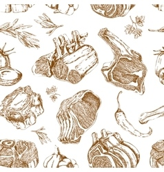 Meat hand drawn monochrome seamless pattern vector