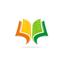 open book learn education logo vector image